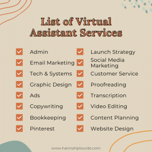 list of virtual assistant services to offer when starting your business